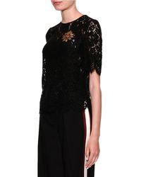 Dolce & Gabbana - Short-sleeve Lace Blouse W/ Heart Applique - Lyst