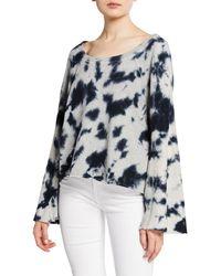 Splendid - Tie-dye Flare-sleeve Cotton Pullover Sweater - Lyst