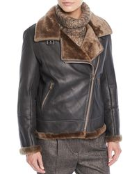 Brunello Cucinelli - Zip-front Shearling & Leather Moto Jacket W/ Monili Trim - Lyst