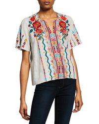 bf09cd4ee94bc Johnny Was - Ornelia Embroidered Short-sleeve Linen Top - Lyst