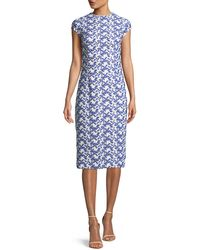 Lela Rose - Cap-sleeve Dotted Floral-lace Fitted Sheath Dress - Lyst