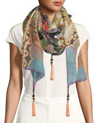 Etro - Paisley-floral Silk Scarf W/ Tassels - Lyst