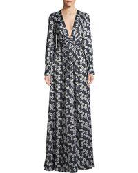 Lela Rose - V-neck Long-sleeve Floral-print A-line Evening Gown - Lyst