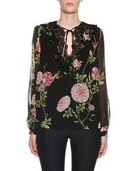 Giambattista Valli - Lace-neck Long-sleeve Floral Peasant Blouse - Lyst