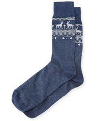 Neiman Marcus - Reindeer-print Cotton Socks - Lyst