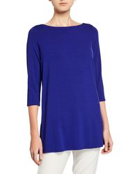 Eileen Fisher - Petite Boat-neck 3/4-sleeve Jersey Tunic - Lyst