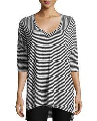 Eileen Fisher - Striped Organic Linen Jersey V-neck Tunic - Lyst