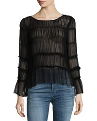 Ella Moss | All Over Smocked Sheer Chiffon Top | Lyst