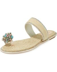 Rene Caovilla - Jewelled Flat Toe-ring Slide Sandals - Lyst