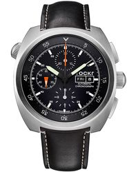 Tockr Men's 45mm Air Defender Chronograph Watch With Black Leather Strap
