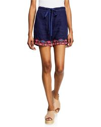Johnny Was - Etienne Drawstring Linen Shorts W/ Embroidered Trim - Lyst