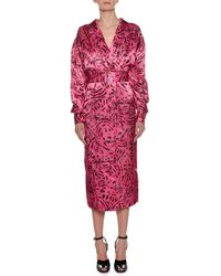 Marni - Long-sleeve Cat-print Reverse Satin Ankle-length Dress - Lyst