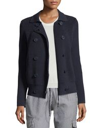 Emporio Armani | Button-front Cable-knit Sweater Jacket | Lyst