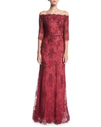 La Femme - Off-the-shoulder Elbow-sleeve Lace Evening Gown - Lyst