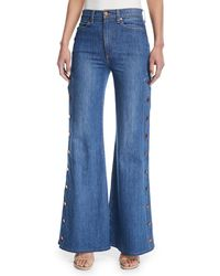 AO.LA by alice + olivia - Gorgeous High-rise Wide-leg Jeans W/ Side Snaps - Lyst