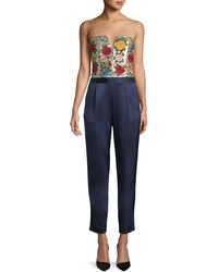 Alice + Olivia - Jeri Floral Embroidered Silk Jumpsuit - Lyst
