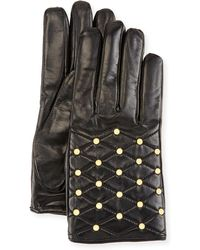Imoni | Studded Quilted Leather Gloves | Lyst
