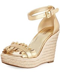 MICHAEL Michael Kors - Bella Ruched Metallic Leather Wedge Sandal - Lyst
