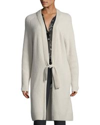 Vince   Tie-front Ribbed Wool-cashmere Cardigan   Lyst