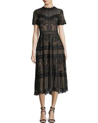 Tadashi Shoji - Lace High-neck Pleated A-line Cocktail Dress - Lyst