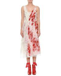 Ermanno Scervino - Deep V-neck Sleeveless Gathered Floral-print Silk Dress - Lyst