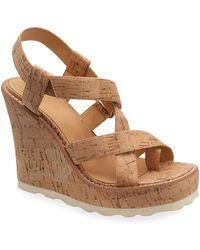 Bill Blass Rae Cork Wedge Sandals - Natural
