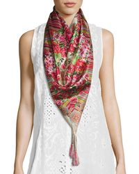 Johnny Was - Rose Lace Printed Silk Scarf - Lyst