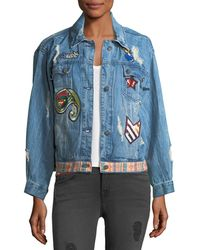 Etienne Marcel - Julia Distressed Embroidered Denim Jacket W/ Patches - Lyst
