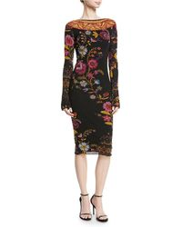 Fuzzi - Fitted Long-sleeve Floral-print Dress - Lyst