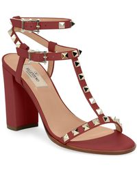4ebe519bd4a2 Lyst - Valentino Rockstud T-strap 90mm Sandal in Natural