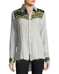 Etienne Marcel - Hana Long-sleeve Button-down Striped Cotton Shirt W/ Sequins - Lyst