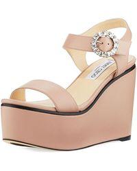 Jimmy Choo - Nylah Leather Wedge Platform Sandal - Lyst