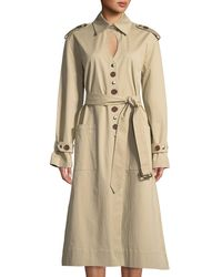 VICTORIA / TOMAS - Keyhole Mixed-button Trench Coat - Lyst