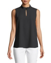 Misook - Pleated-collar Sleeveless Blouse - Lyst