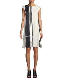 Theory - Striped Silk Cap-sleeve Sheath Dress - Lyst