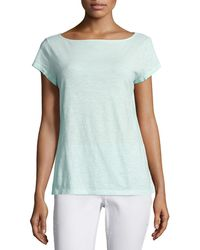 Eileen Fisher - Cap-sleeve Organic Cotton Slub Top - Lyst