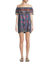 Tolani - Malani Off-the-shoulder Embroidered Denim Dress - Lyst