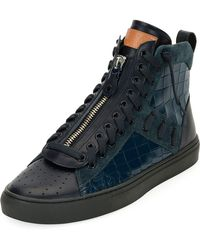 Bally - Men's Hekem Croc-embossed Leather High-top Sneakers - Lyst