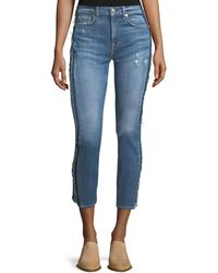 7 For All Mankind - Roxanne Ankle Skinny Jeans W/ Frayed Tux Stripe - Lyst