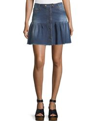 RED Valentino   Stone-washed Button-front Denim Skirt   Lyst