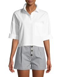 Kule - The Keaton Striped Cropped Short-sleeve Shirt - Lyst