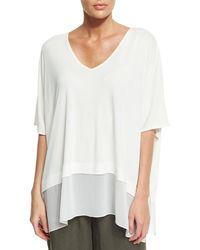 Eileen Fisher - Petite Half-sleeve Silk Jersey Blouse - Lyst