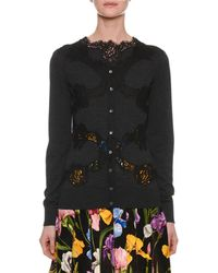Dolce & Gabbana - Button-down Long-sleeve Cardigan W/ Lace Inset - Lyst