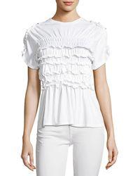 Simone Rocha | Shirred Cotton Frill T-shirt | Lyst