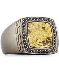 John Hardy - Men's Batu Classic Chain Silver Signet Ring With Black Sapphires - Lyst