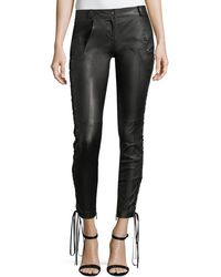 Redemption - Leather Skinny Pants W/lace-up Sides - Lyst