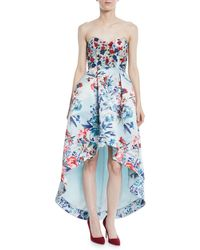 Parker Black - Roxanne Strapless High-low Floral-print Gown W/ Beaded Bodice - Lyst