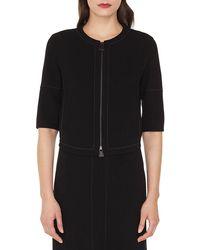 Akris - Ramona Round-neck Zip-front Stretch-wool Jacket W/ Topstitching - Lyst