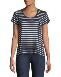 Neiman Marcus - Soft-touch Scoop-neck Short-sleeve Striped Top - Lyst