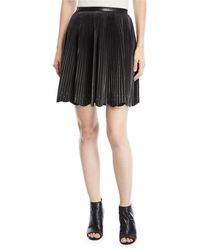 Elie Saab - Short Pleated Leather Skirt With Stud Details - Lyst